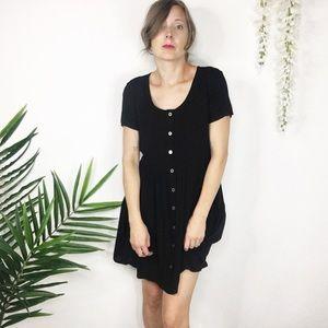 NWT EVIL TWIN black dress buttons lattice back